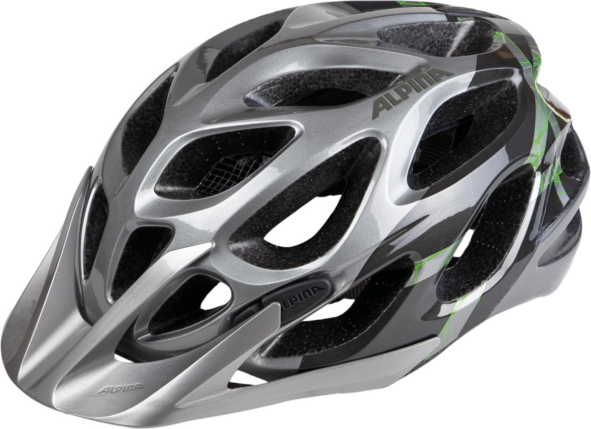 Велошлем Alpina Mythos 2.0, цвет: серебристый, зеленый. Размер 57-62 см