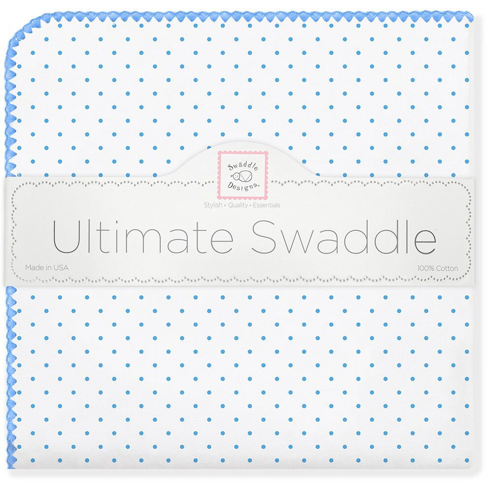 SwaddleDesigns Пеленка фланелевая Bt. Blue Polka Dot swaddledesigns пеленка фланелевая bt blue polka dot