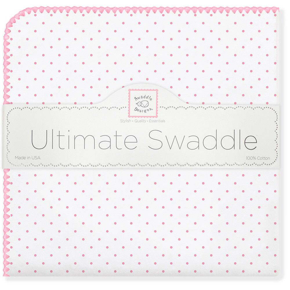 SwaddleDesigns Пеленка фланелевая Bt. Pink Polka Dot swaddledesigns пеленка фланелевая bt blue polka dot
