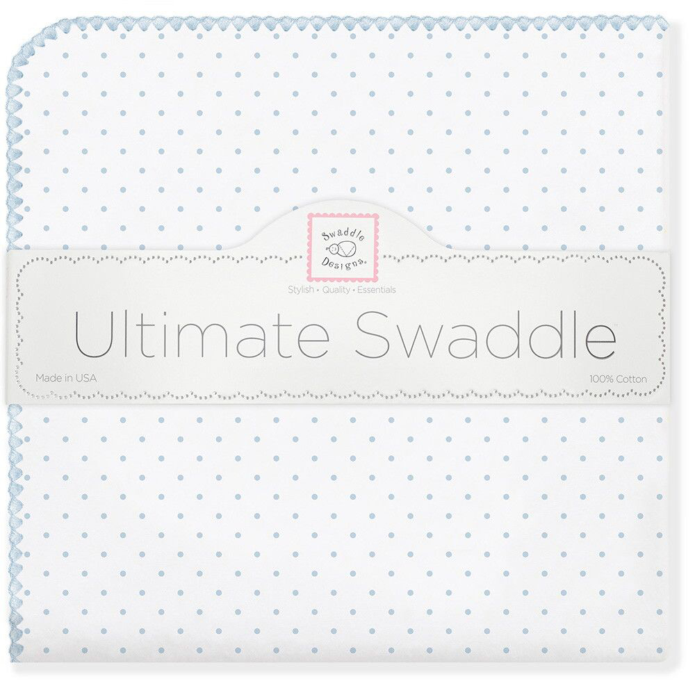 SwaddleDesigns Пеленка фланелевая Pstl Blue Dot swaddledesigns пеленка фланелевая bt blue polka dot