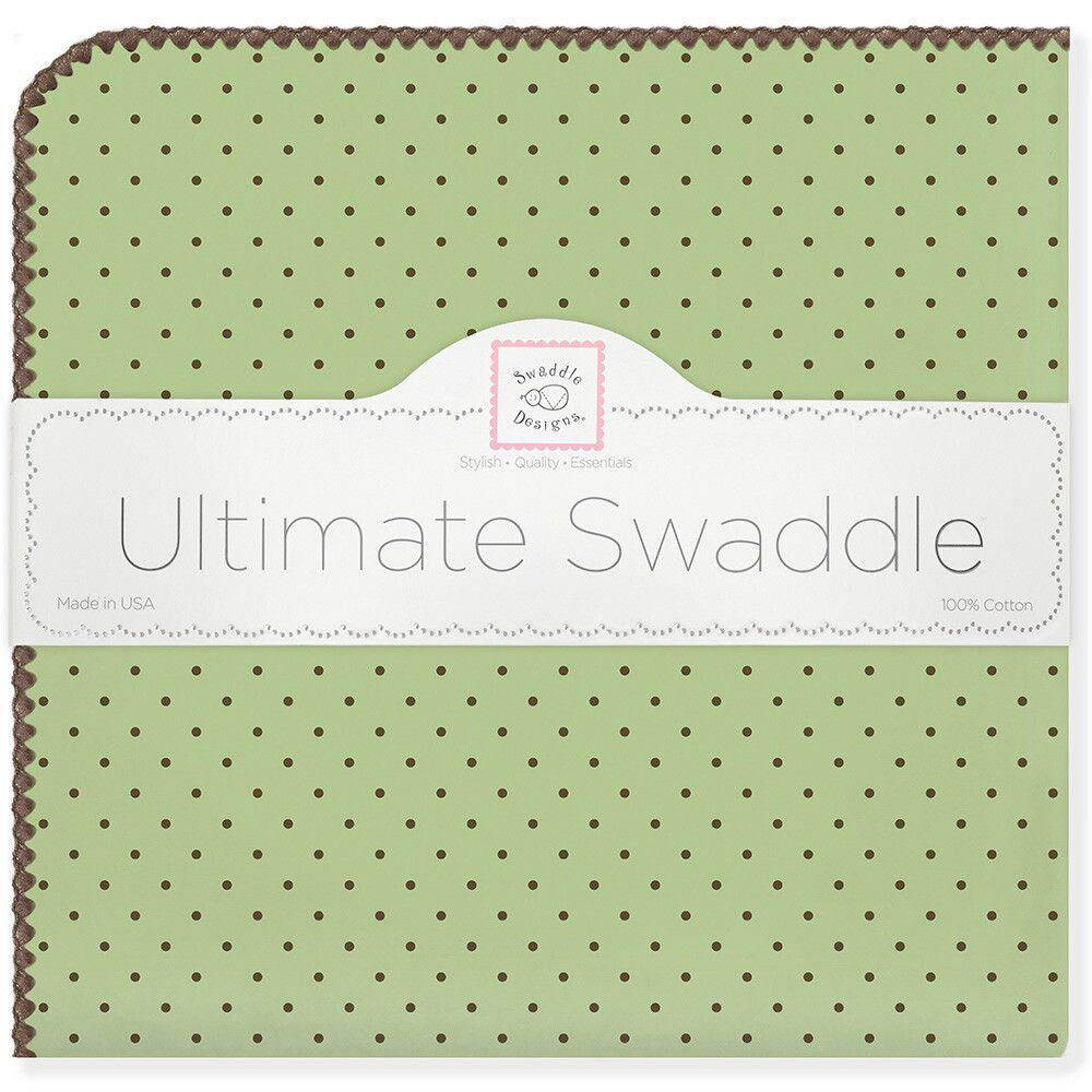 SwaddleDesigns Пеленка фланелевая Lime w BR Dot