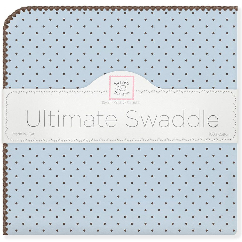 SwaddleDesigns Пеленка фланелевая Blue w BR Dot swaddledesigns пеленка фланелевая bt blue polka dot