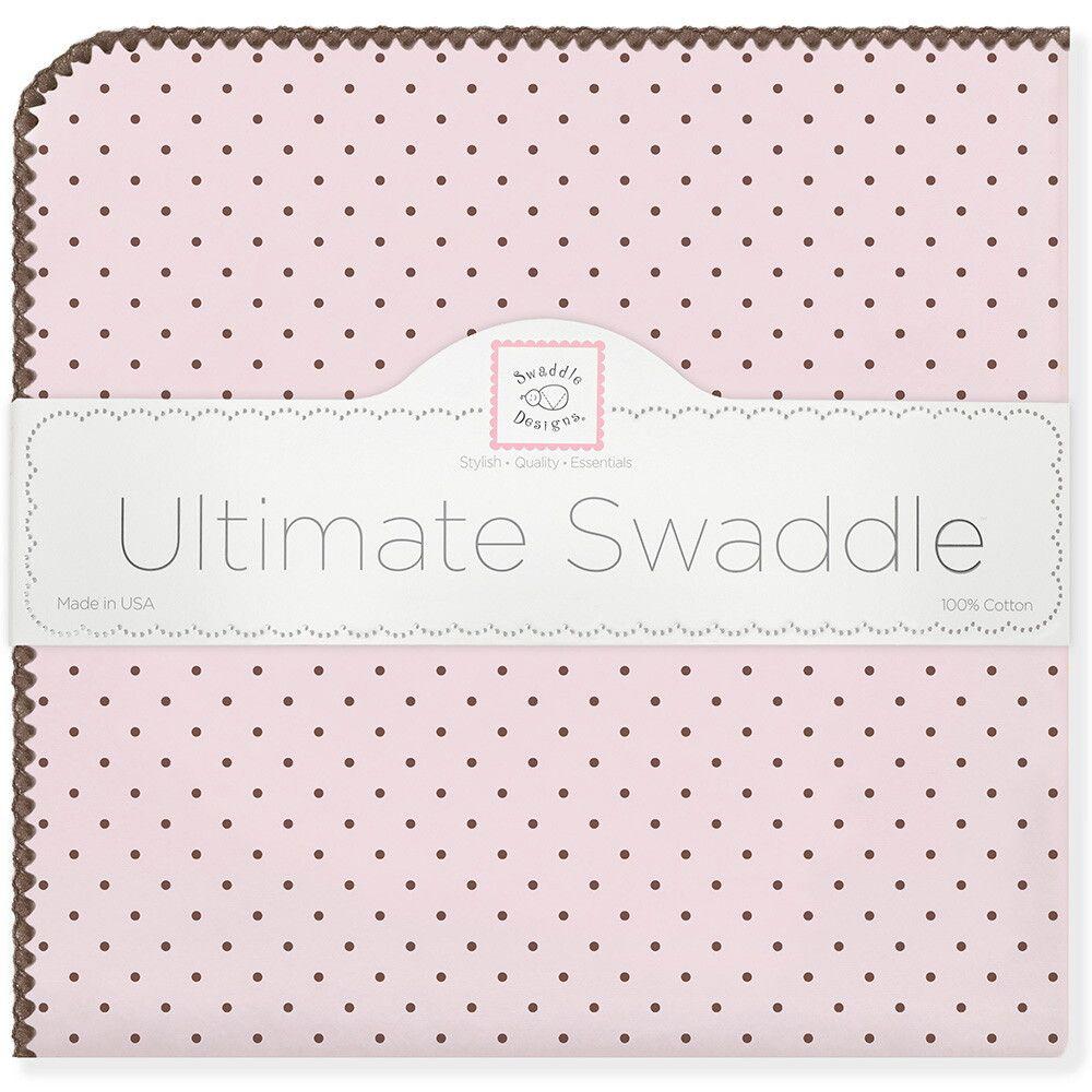 SwaddleDesigns Пеленка фланелевая Pink w BR Dot