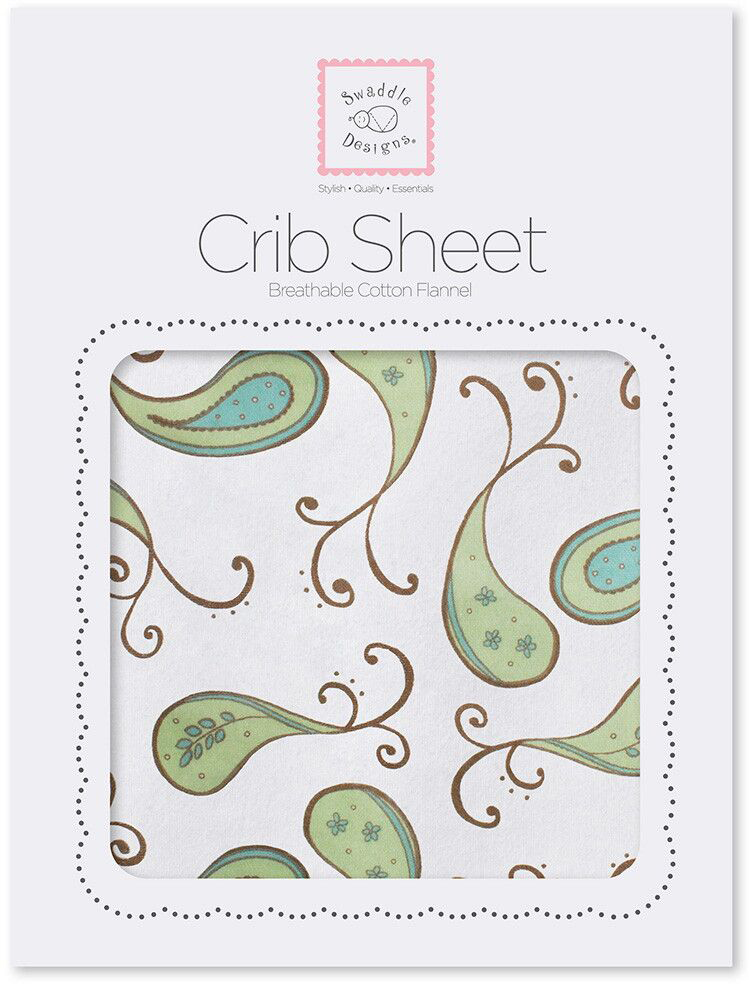 SwaddleDesigns Простынь детская Fitted Crib Sheet Kiwi Paisley 70 х 132 см простыни lool простыня на резинке fitted sheet