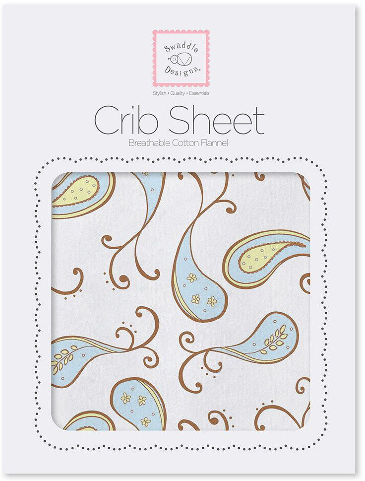 SwaddleDesigns Простынь детская Fitted Crib Sheet Blue Paisley 70 х 132 см swaddledesigns простынь детская fitted crib sheet pink paisley 70 х 132 см