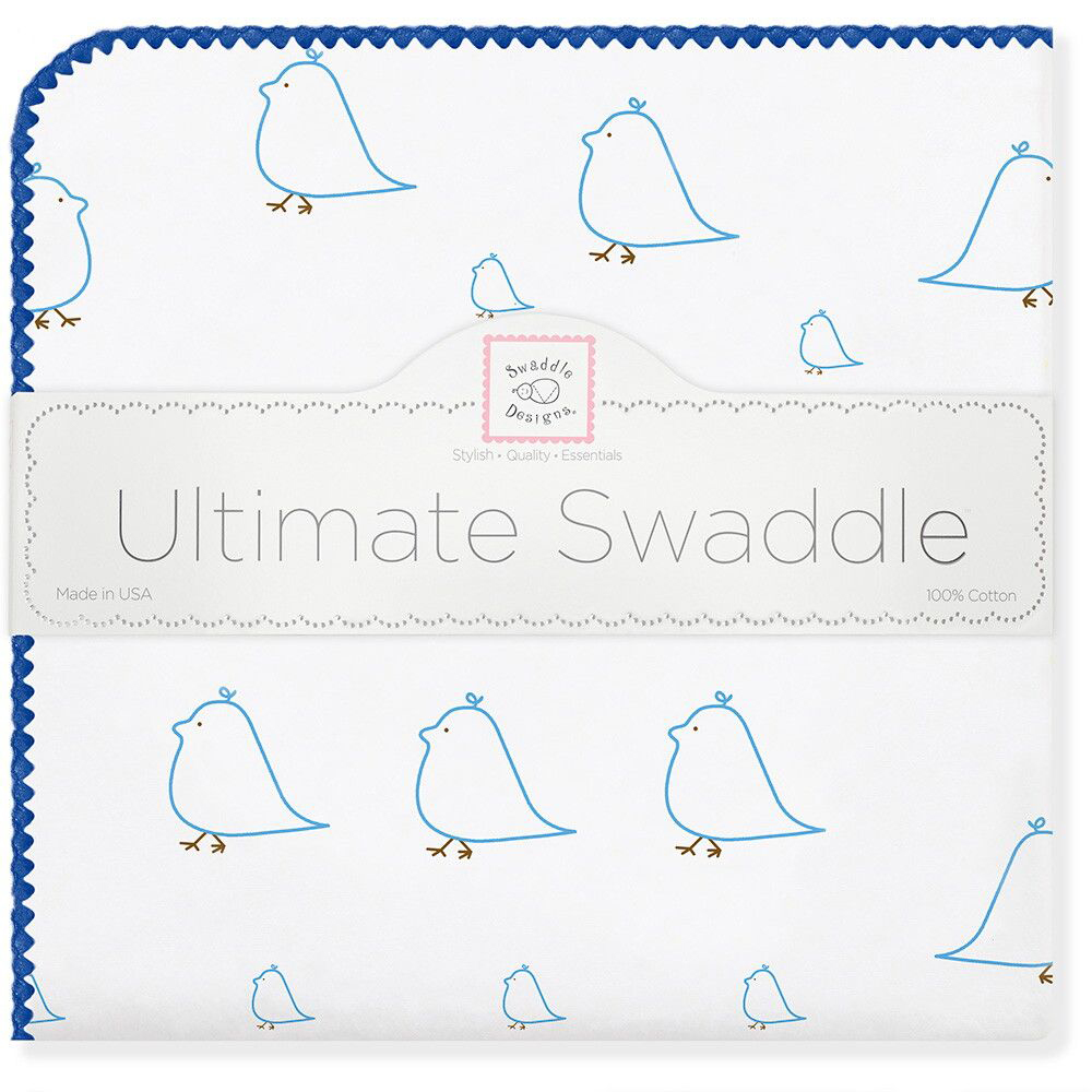 SwaddleDesigns Пеленка фланелевая Blue Chickies