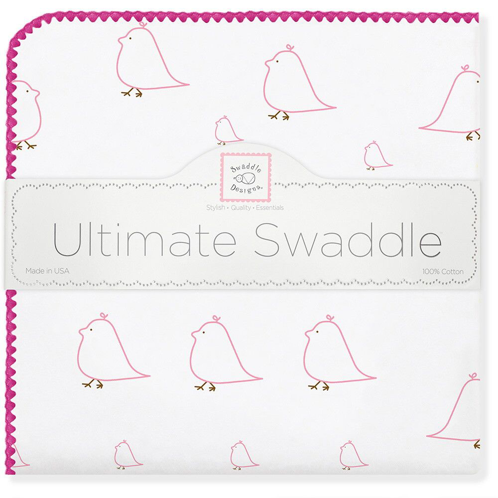 SwaddleDesigns Пеленка фланелевая Pink Chickies