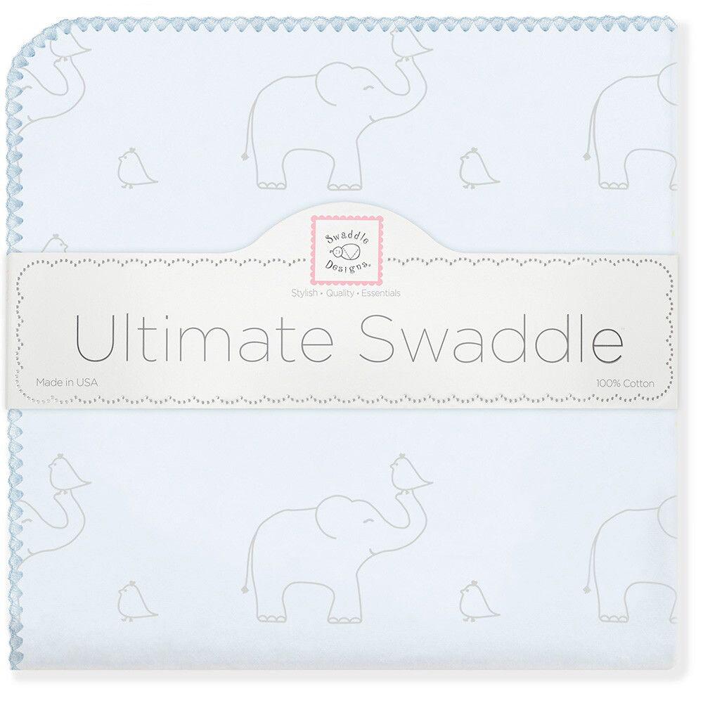 SwaddleDesigns Пеленка фланелевая Слоники с птичками цвет голубой фланелевая пеленка swaddledesigns для новорожденного pink chickies sd 162p