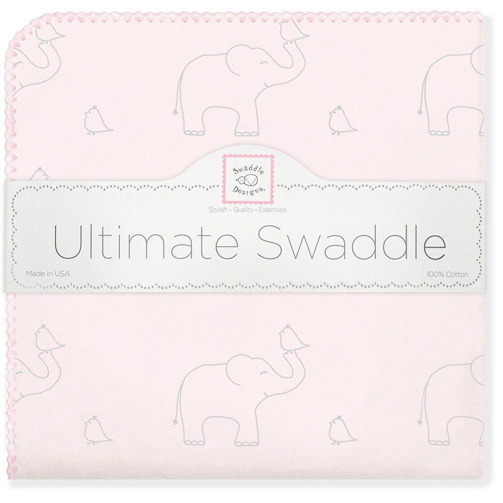 SwaddleDesigns Пеленка фланелевая Слоники с птичками цвет розовый