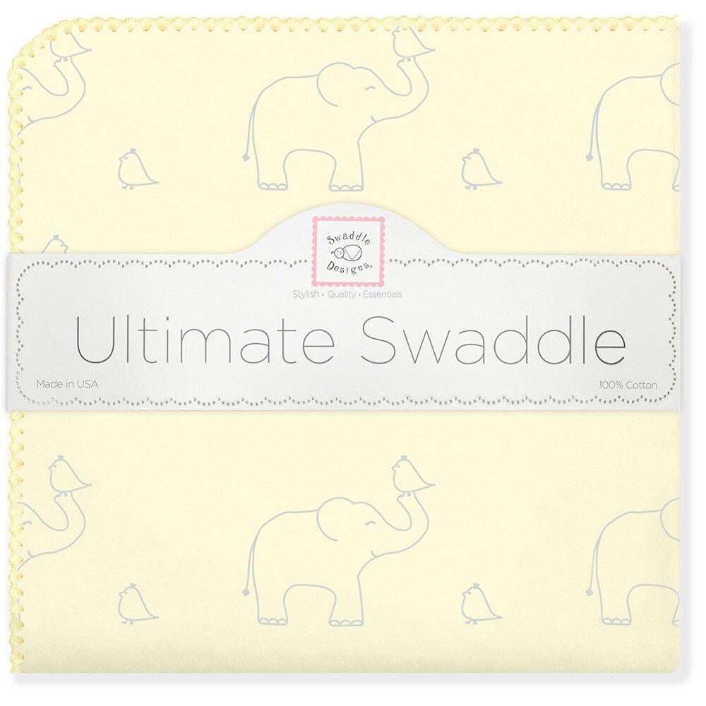 SwaddleDesigns Пеленка фланелевая Слоники с птичками цвет желтый фланелевая пеленка swaddledesigns дл�� новорожденного bt blue polka dot sd 001b
