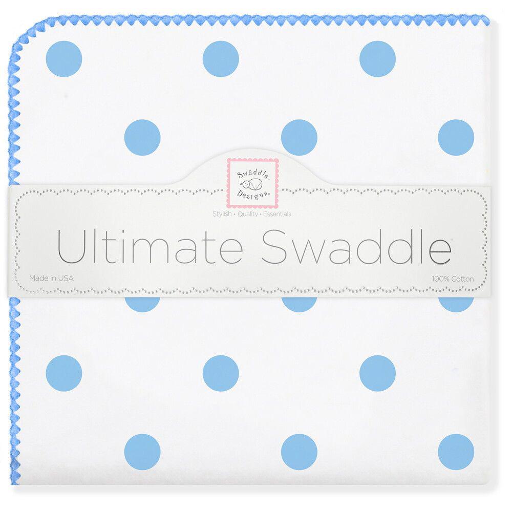 SwaddleDesigns Пеленка фланелевая Ultimate Big Dots Blue
