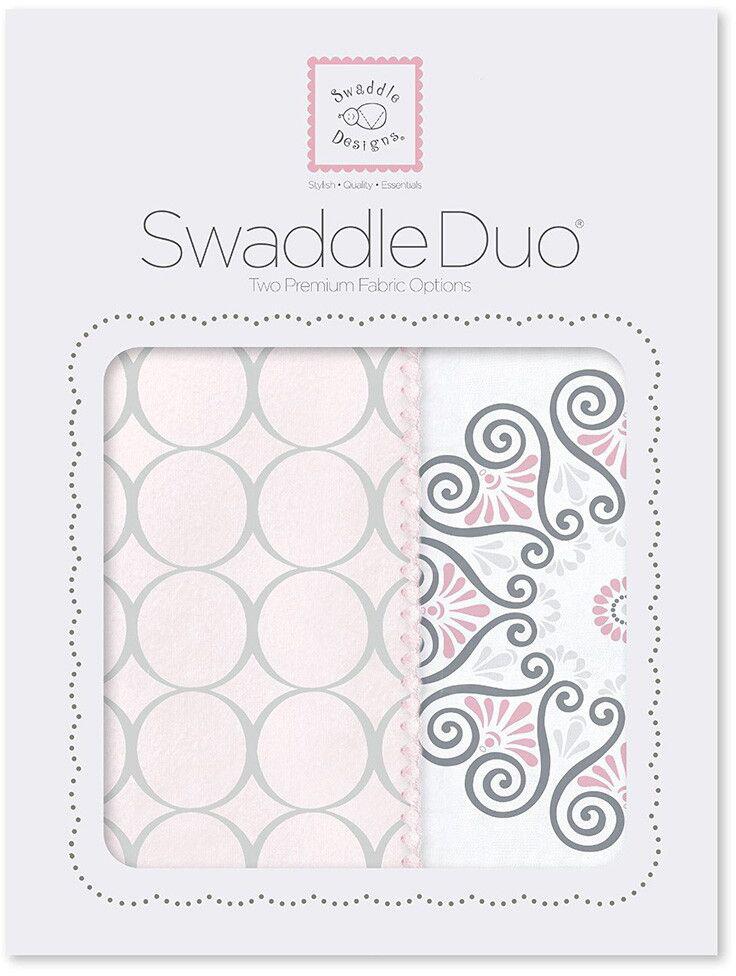SwaddleDesigns Набор пеленок Swaddle Duo Pink Mod Medallion 2 шт набор пеленок swaddledesigns swaddle duo pstl pink modern