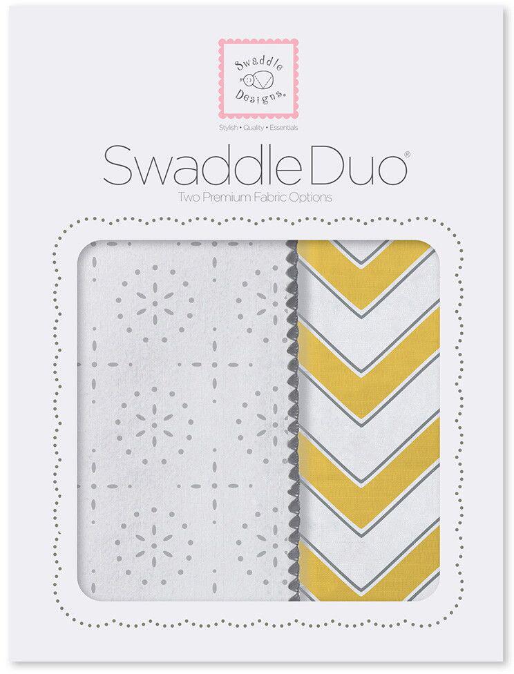 SwaddleDesigns Набор пеленок Swaddle Duo Yellow Chevrons 2 шт говорим с пеленок
