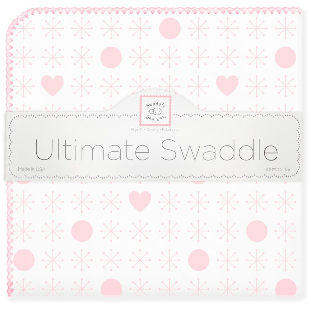 SwaddleDesigns Пеленка фланелевая Ultimate Jax & Hearts Pink