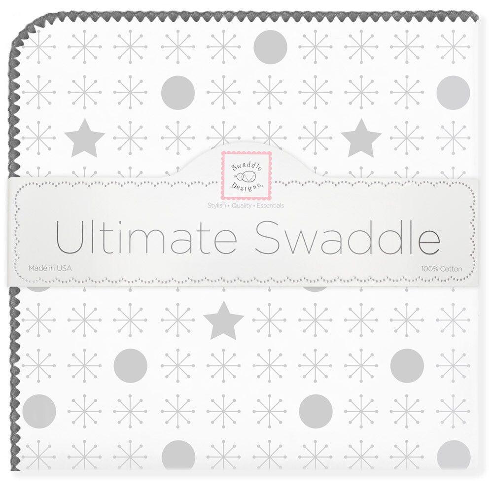SwaddleDesigns Пеленка фланелевая Ultimate Jax & Stars Sterling фланелевая пеленка swaddledesigns для новорожденного pink chickies sd 162p