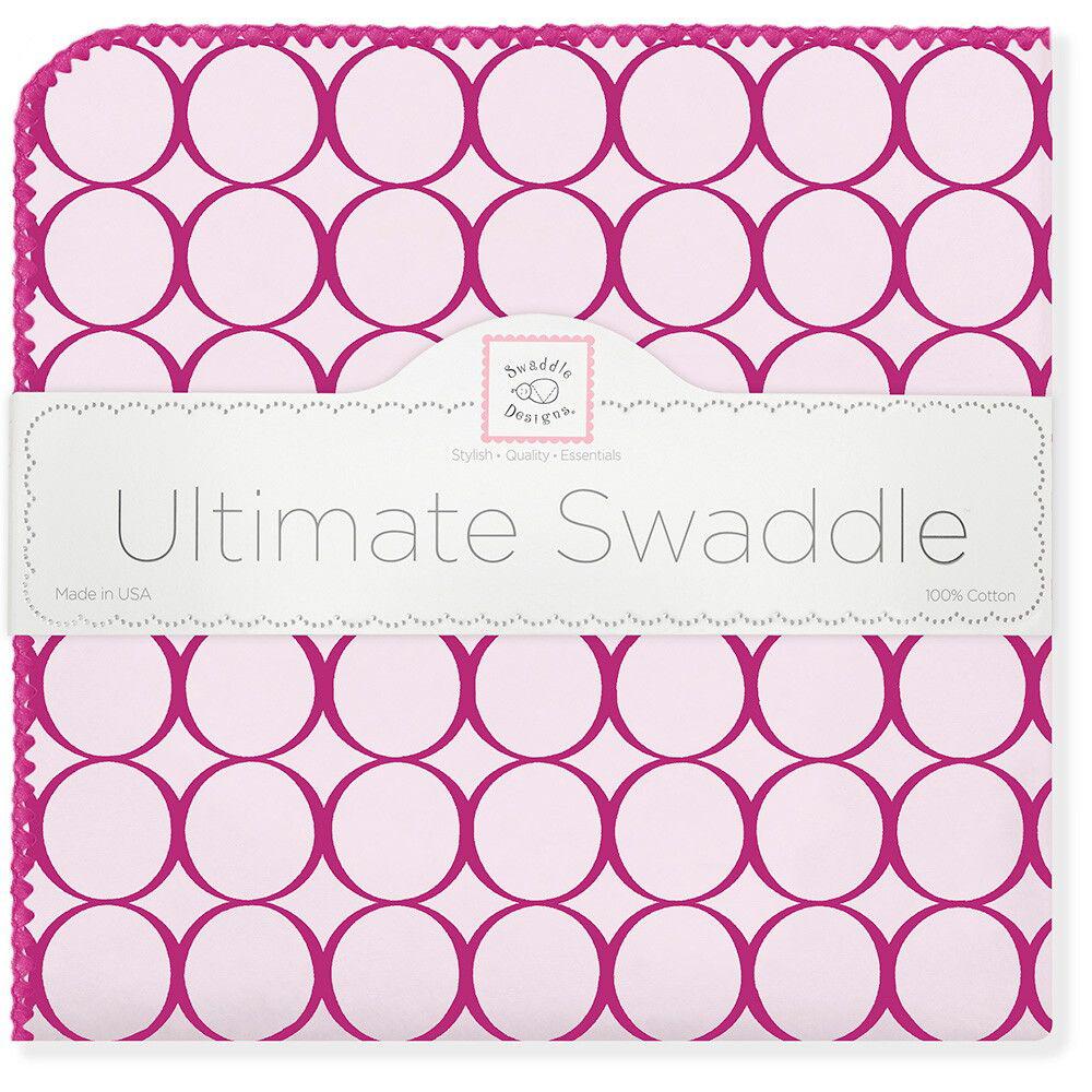 SwaddleDesigns Пеленка фланелевая Кружки цвет фуксия