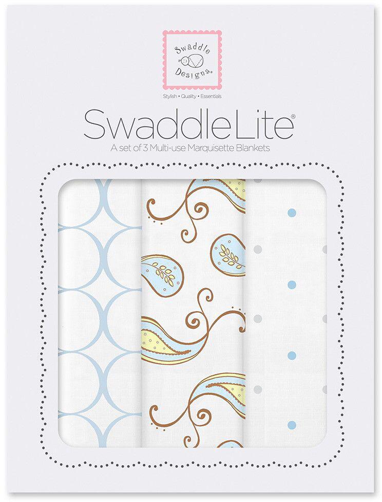 SwaddleDesigns Набор пеленок SwaddleLite Paisley Blue 3 шт говорим с пеленок 2017 арт 1055