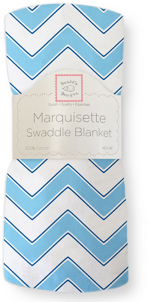 SwaddleDesigns Пеленка тонкая Marquisette Blue Chevron