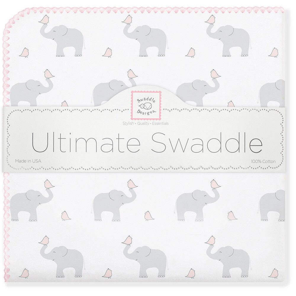 SwaddleDesigns Пеленка фланелевая PP Elephants Chicks фланелевая пеленка swaddledesigns для новорожденного pink chickies sd 162p