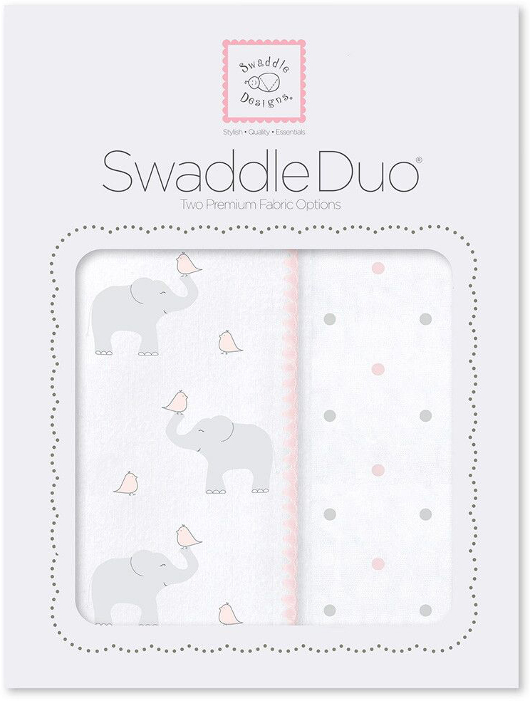 SwaddleDesigns Набор пеленок Swaddle Duo PP Elephant Chickies 2 шт набор пеленок swaddledesigns swaddle duo sc elephant and chickies mod duo sd 474sc