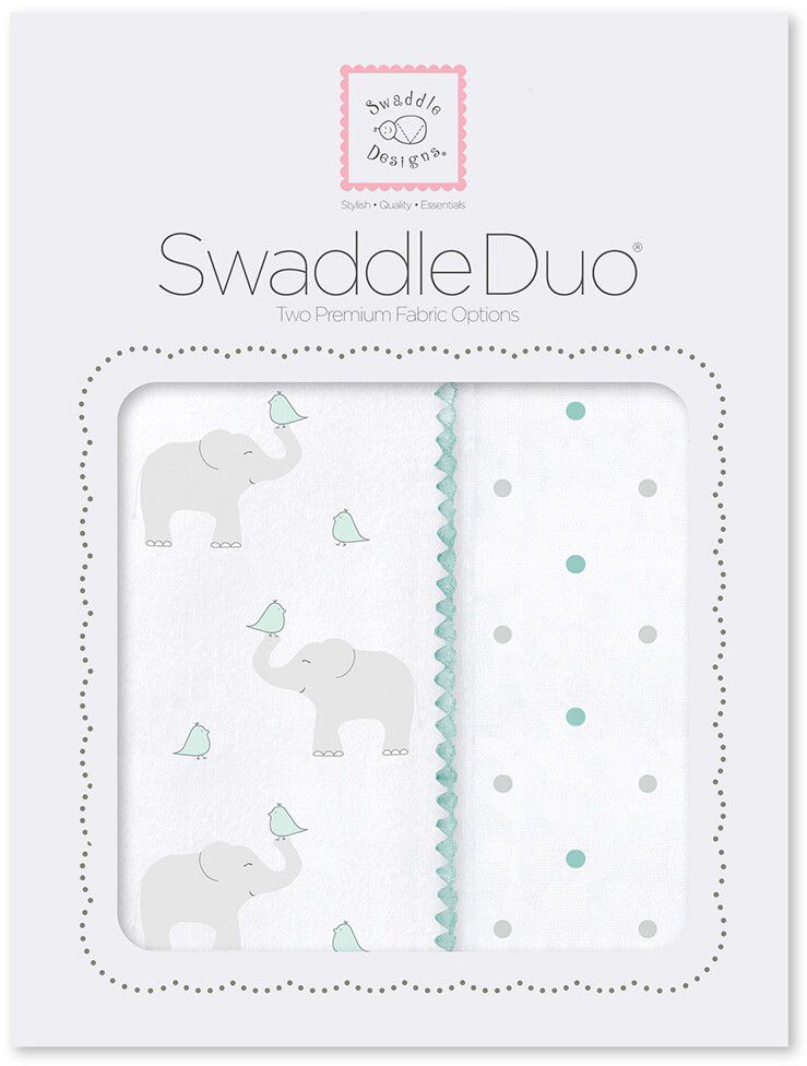SwaddleDesigns Набор пеленок Swaddle Duo SC Elephant Chickies 2 шт набор пеленок swaddledesigns swaddle duo sc elephant and chickies mod duo sd 474sc