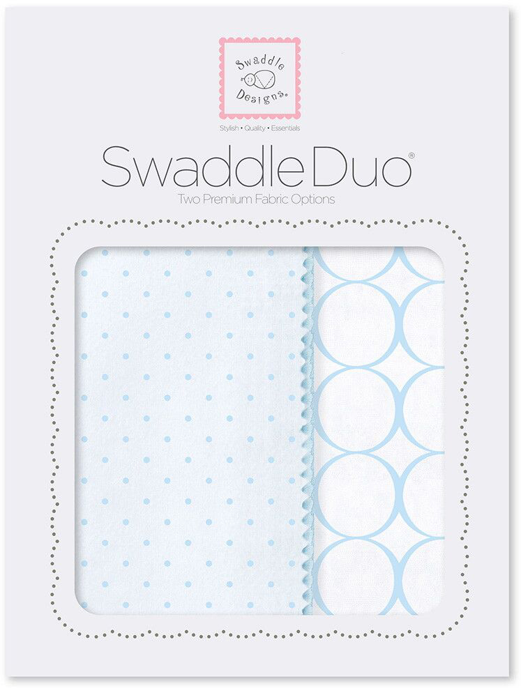 SwaddleDesigns Набор пеленок Swaddle Duo PB Dot Mod Circle 2 шт набор пеленок swaddledesigns swaddle duo pstl pink modern