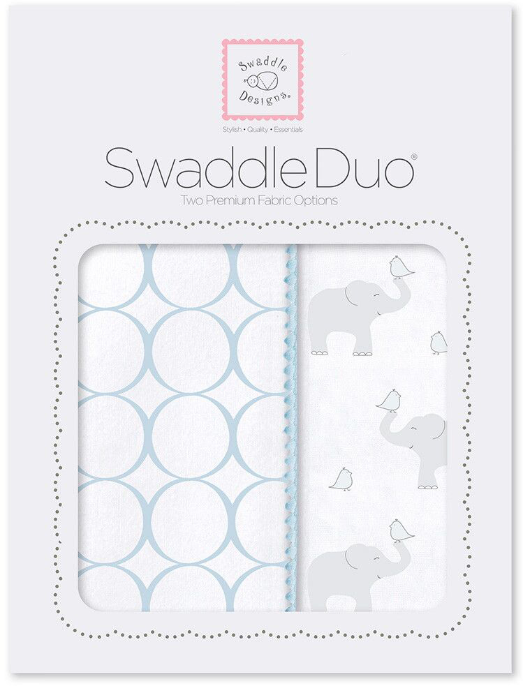 SwaddleDesigns Набор пеленок Swaddle Duo PB Elephant & Chickies Mod Duo 2 шт набор пеленок swaddledesigns swaddle duo pstl pink modern