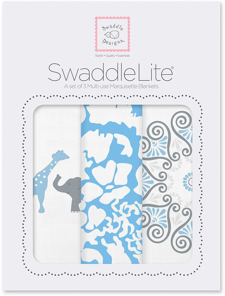 SwaddleDesigns Набор пеленок SwaddleLite PB Elephant Chickies 3 шт SD-476B фланелевая пеленка swaddledesigns для новорожденного pink chickies sd 162p