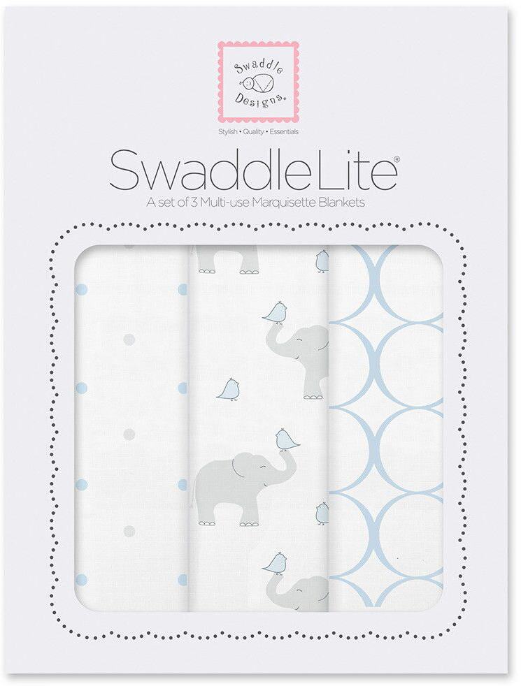 SwaddleDesigns Набор пеленок SwaddleLite PB Elephant Chickies 3 шт SD-478PB фланелевая пеленка swaddledesigns для новорожденного pink chickies sd 162p