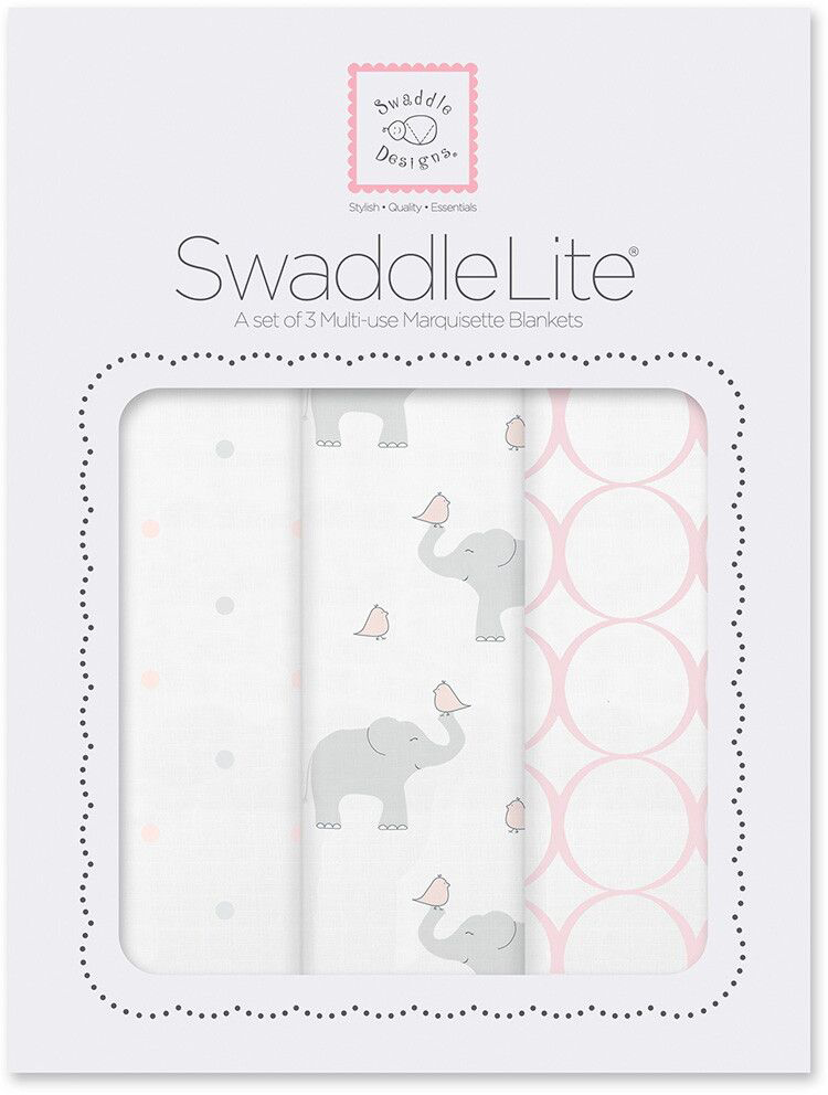 SwaddleDesigns Набор SwaddleLite PP Elephant Chickies 3 шт SD-478PP