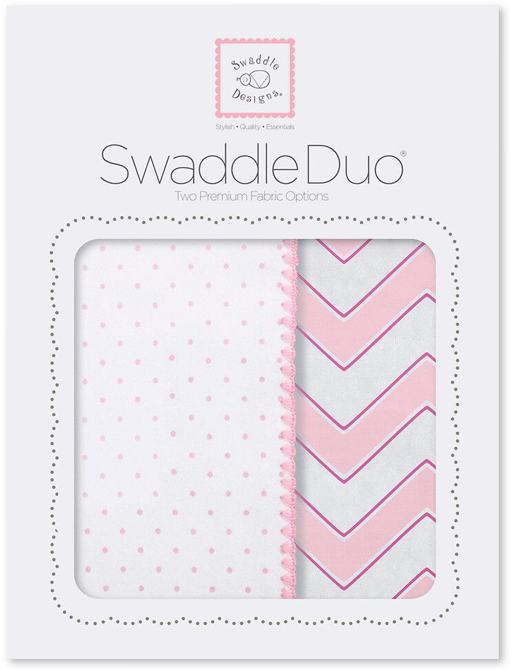 SwaddleDesigns Набор пеленок Swaddle Duo Pink Classic Chevron 2 шт набор пеленок swaddledesigns swaddle duo pstl pink modern