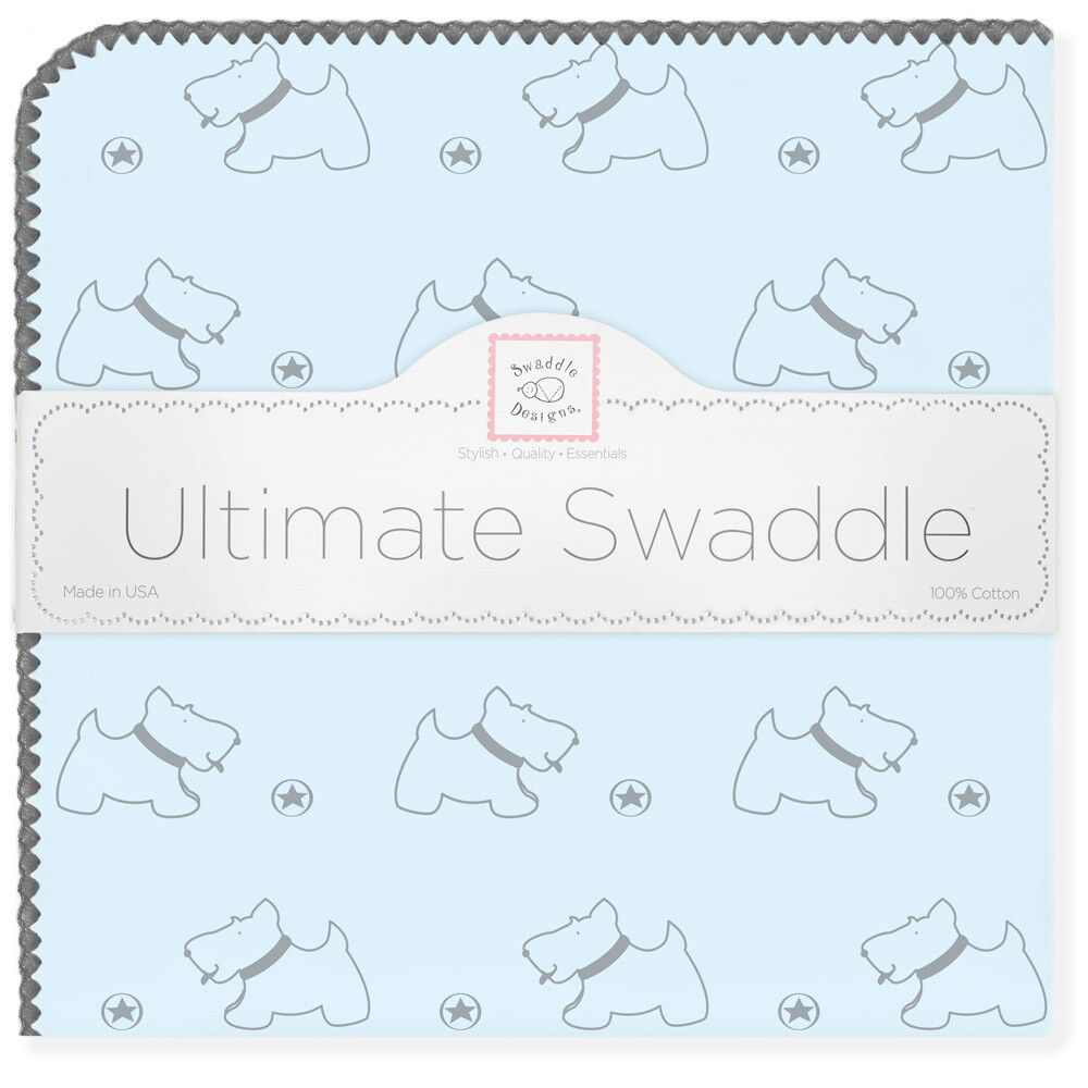 SwaddleDesigns Пеленка фланелевая Ultimate Gray Doggie Pstl Blue фланелевая пеленка swaddledesigns для новорожденного pink chickies sd 162p