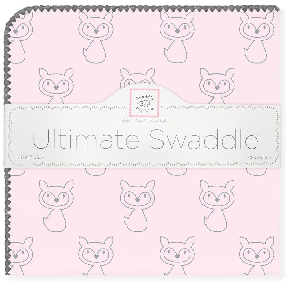 SwaddleDesigns Пеленка фланелевая Ultimate Gray Fox Pstl Pink