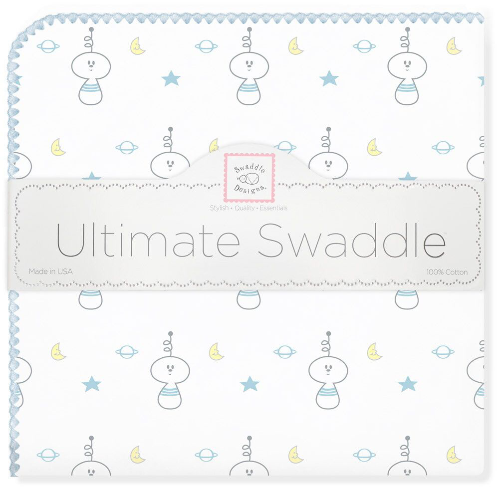 SwaddleDesigns Пеленка фланелевая Ultimate Space Friend Blue