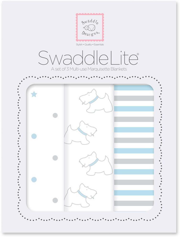 SwaddleDesigns Набор пеленок SwaddleLite Pstl Blue Little Doggie 3 шт говорим с пеленок