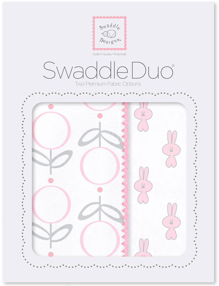 SwaddleDesigns Набор пеленок Swaddle Duo Pink Little Bunnie 2 шт набор пеленок swaddledesigns swaddle duo pstl pink modern