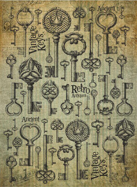 Рисовая бумага для декупажа Craft Premier Ключи ретро, формат А3 рисовая бумага для декупажа craft premier этнический узор формат а3