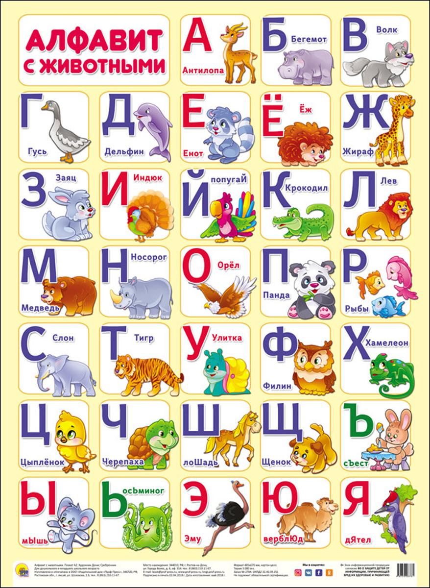 Алфавит с животными. Плакат