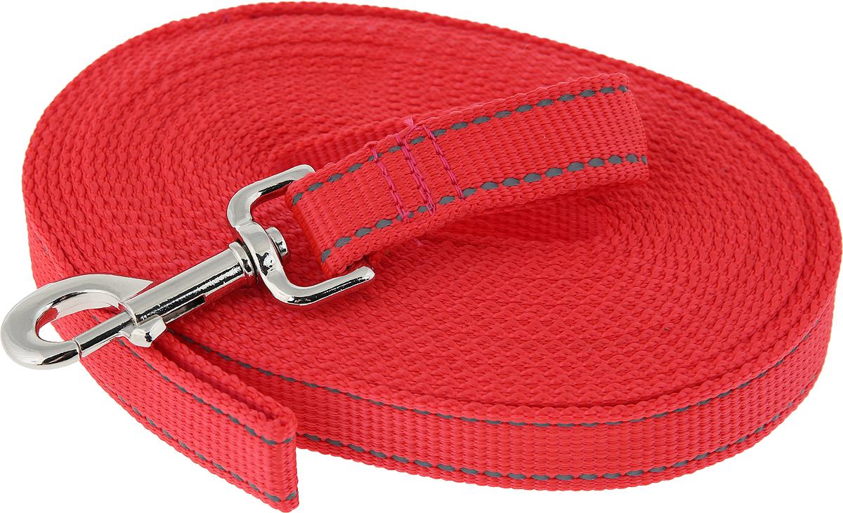 Поводок капроновый для собак Аркон, цвет: красный, ширина 2,5 см, длина 7 м