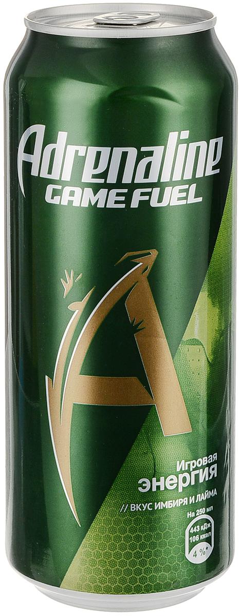Adrenaline Game Fuel Лайм-Имбирь энергетический напиток, 0,5 л