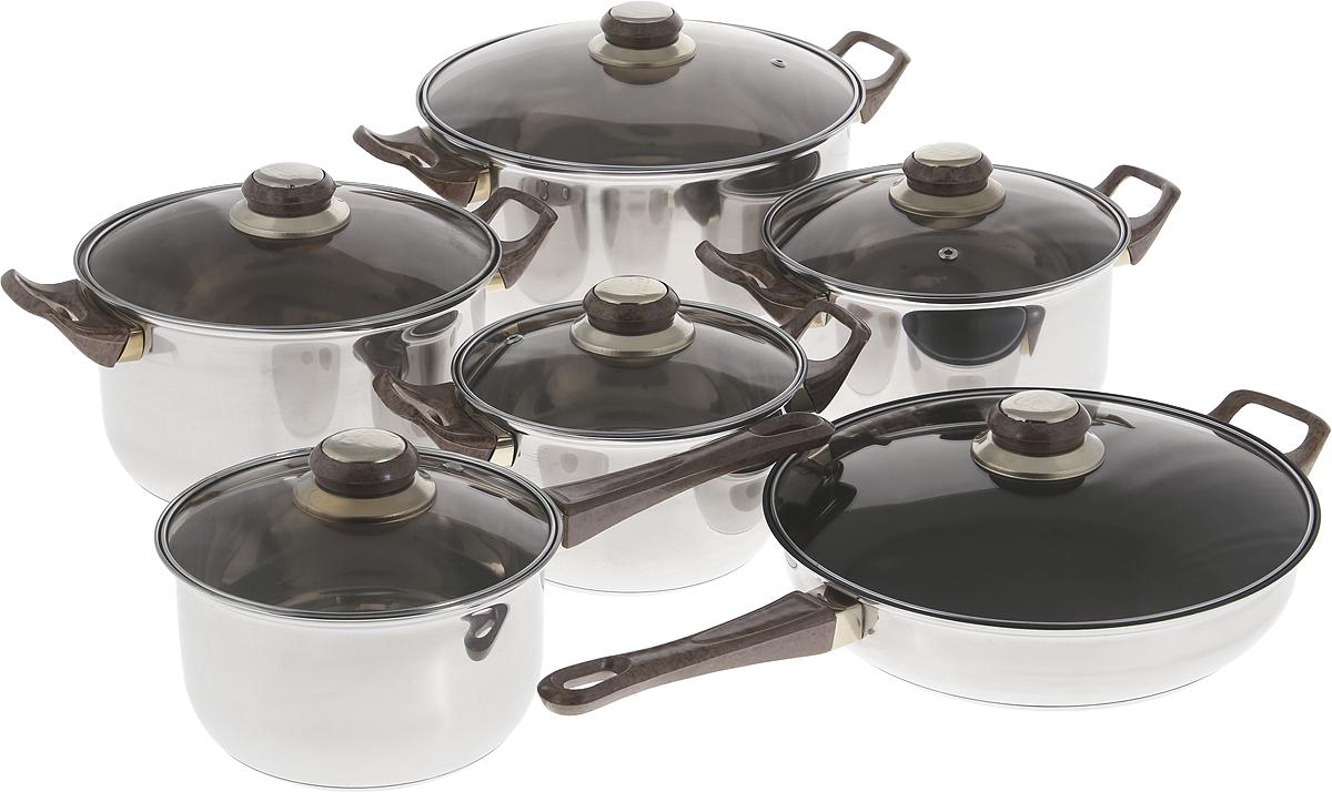 Набор кухонной посуды MAYER&BOCH изготовлен из высококачественной нержавеющей стали CrNi 18/10 с многослойным усиленным дном. Изделия снабжены крышками из термостойкого стекла с паровыпуском и металлическим ободом, а также удобными бакелитовыми ручками. Сковорода имеет антипригарное покрытие. В комплекте 12 предметов: 4 кастрюли с крышками, 1 ковш с крышкой, 1 сковорода с крышкой. Подходит для использования на всех типах плит, кроме индукционных. Подходит для мытья в посудомоечной машине.