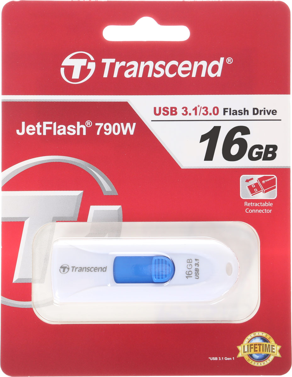 Transcend JetFlash 790 16GB, White Blue USB-накопитель цена и фото