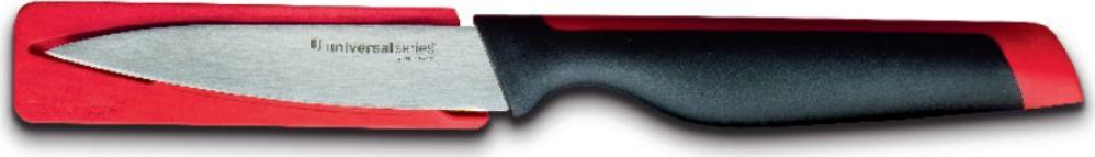 Клинок ножа выполнен из нержавеющей, легированной, закаленной стали. Вот почему универсальный нож долго сохраняет остроту и режущие свойства, а также имеет высокий срок службы.Нож имеет гибкое тонкое лезвие без заусенцев, которое оптимально режет любые продукты.Эргономичная ручка удобно ложится в ладонь, а матовая поверхность обеспечивает отсутствие скольжения в мокрых руках.Темно-бордовая вставка на рукоятке ножа эстетично сочетается с чехлом того же цвета.Чехол обеспечивает безопасность при транспортировке и хранении.