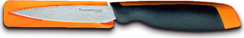 Компактный и многофункциональный разделочный нож «Универсал» имеет узкое клиновидное лезвие с гладкой заточкой и с чуть приподнятым вверх острием.Ручка ножа выполнена из полимера черного цвета с ярко оранжевой вставкой.К ножу прилагается защитный чехол идентичного вставке оранжевого цвета.