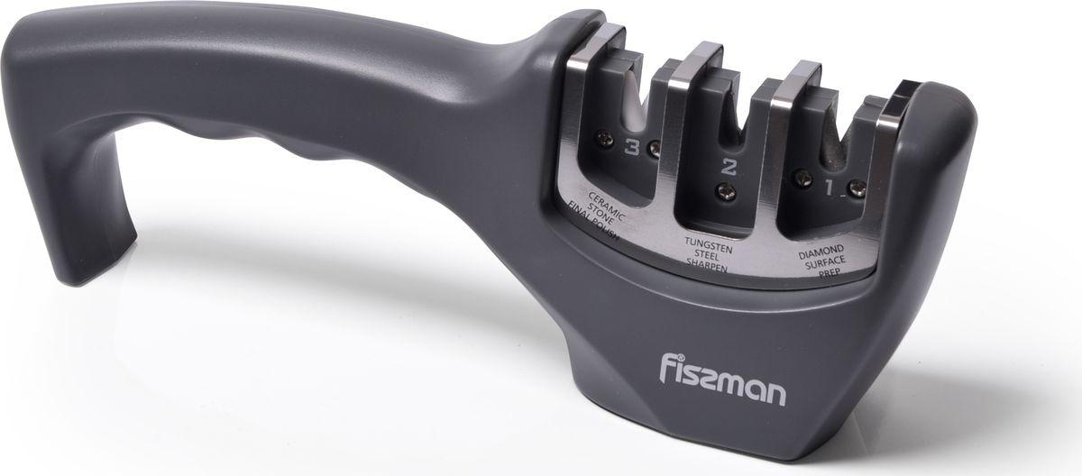 Точило для ножей от компании FISSMAN имеет трехступенчатую систему для грубой заточки и окончательной правки лезвия с камнями из карбида, алмаза и керамики. Эргономичная рукоятка обеспечивает комфортный и надежный захват. Фиксированный угол наклона камней обеспечивает равномерную заточку. Корпус из прочного полимерного материала предотвращает скольжение точила во время работы.