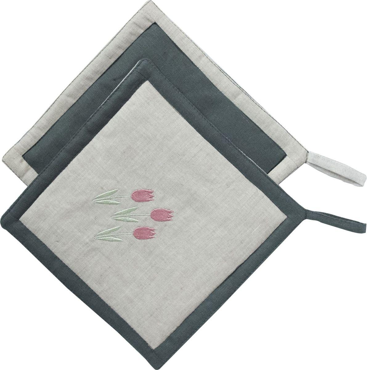Прихватка Арт-студия Решетняк Тюльпаны, цвет: серый прихватка кухонная василек универсальный