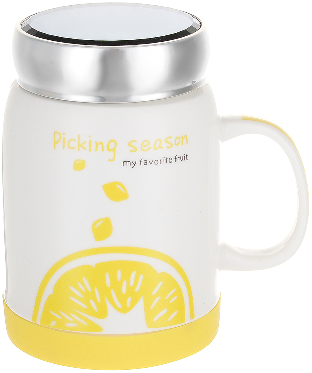 Кружка с крышкой Patricia Фрукты, 350 мл. IM99-0562_лимон конфетница на ножке patricia диаметр 25 см im99 5730