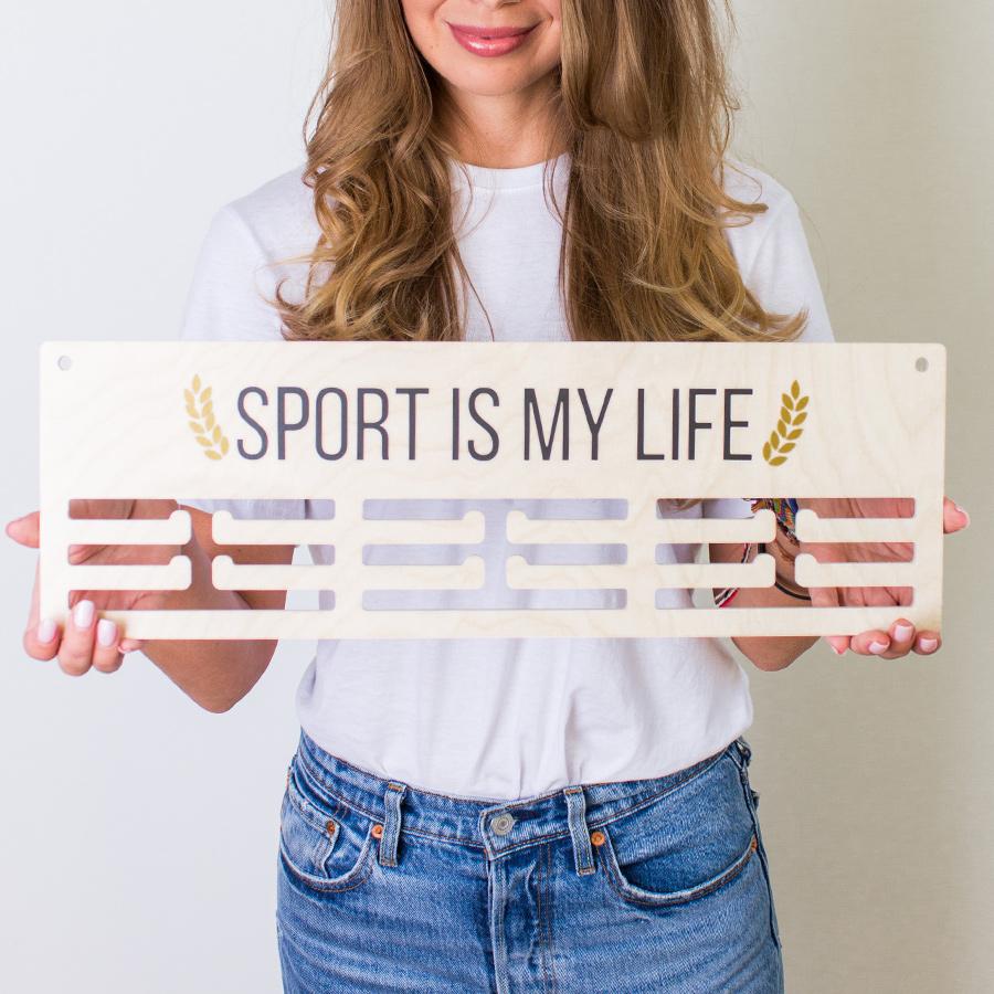 Медальница Markov.Design Sport Is My Life, цвет: бежевый, 47 x 14 см дневник my life story бежевый