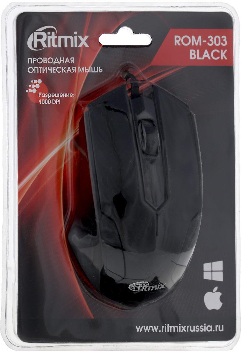 Ritmix ROM-303 Gaming, Black мышь мышь проводная ritmix rom 111 чёрный usb