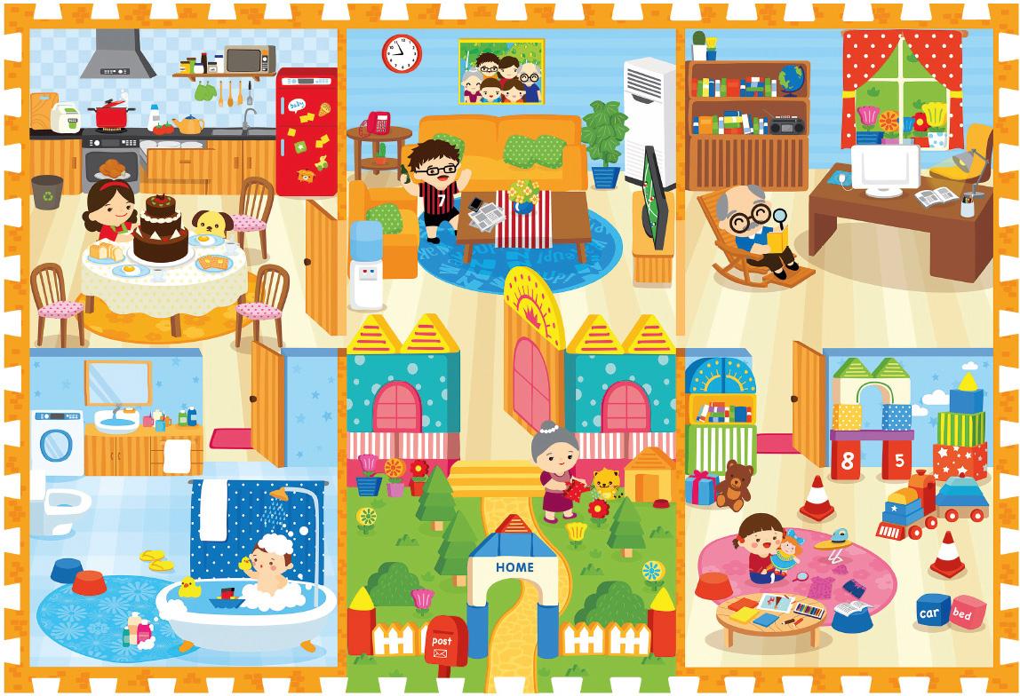 Mambobaby Коврик-пазл Семейный дом 180 х 120 см игровые коврики mambobaby развивающий коврик морские жители односторонний 200х180х0 5см
